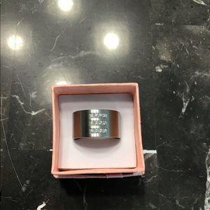 TeNo Stainless & Diamond Ring size 5.75